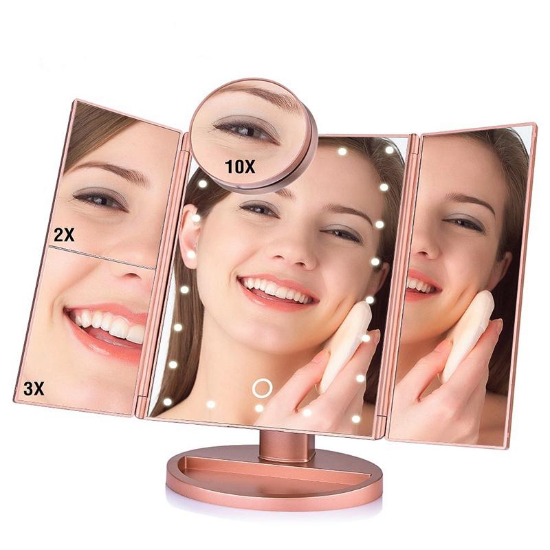 2X-LED-Press-Screen-22-Light-Makeup-Mirror-Table-Desktop-Makeup-1X-2X-3X-10-Q9T1 thumbnail 14