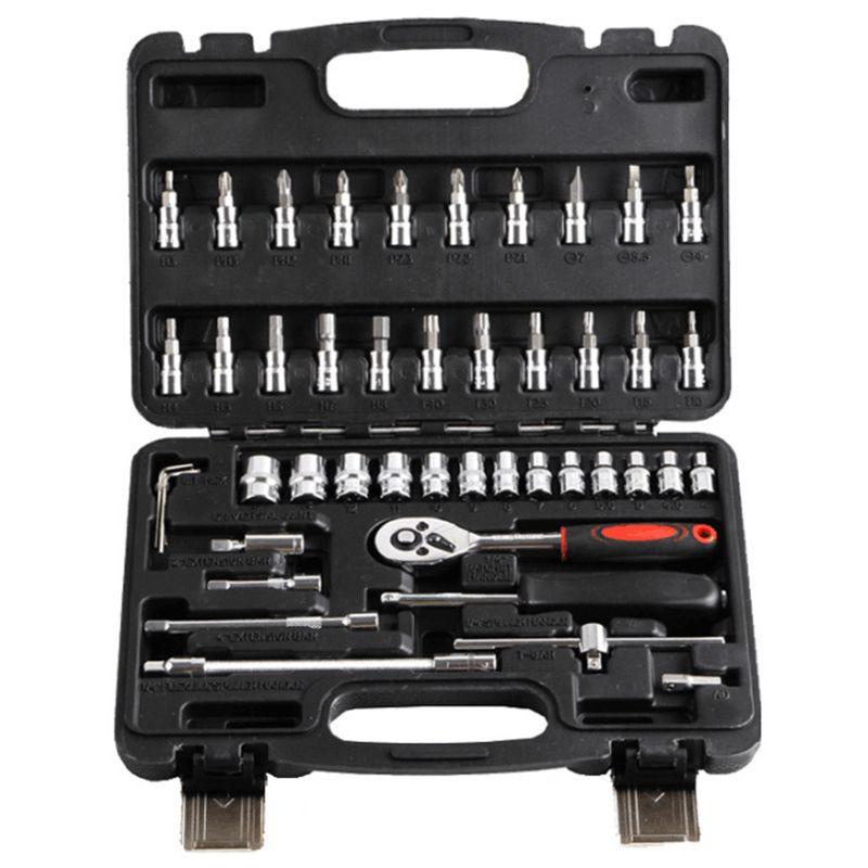 Hot Professional 46pcs Spanner Socket Set 1//4 inch Screwdriver Ratchet Wrench ZC