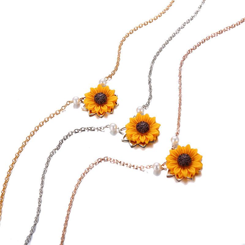 Perle-Sonnenblume-Halskette-Anhaenger-Weiblichen-Schmuck-Zubehoer-Sonnenblume-Z1U6 Indexbild 3