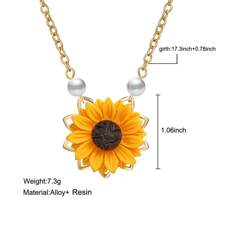 Perle-Sonnenblume-Halskette-Anhaenger-Weiblichen-Schmuck-Zubehoer-Sonnenblume-Z1U6 Indexbild 4