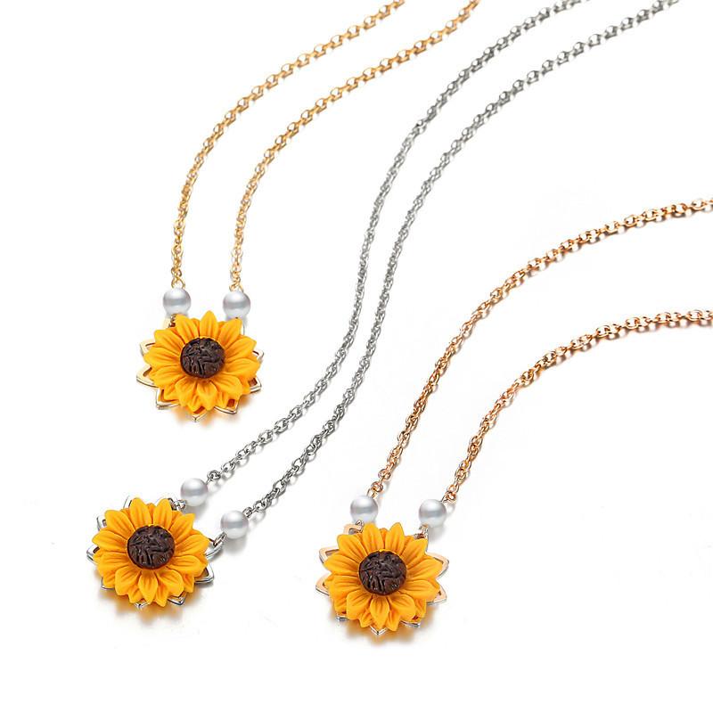 Perle-Sonnenblume-Halskette-Anhaenger-Weiblichen-Schmuck-Zubehoer-Sonnenblume-Z1U6 Indexbild 5