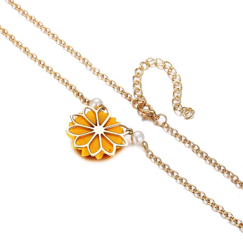 Perle-Sonnenblume-Halskette-Anhaenger-Weiblichen-Schmuck-Zubehoer-Sonnenblume-Z1U6 Indexbild 6