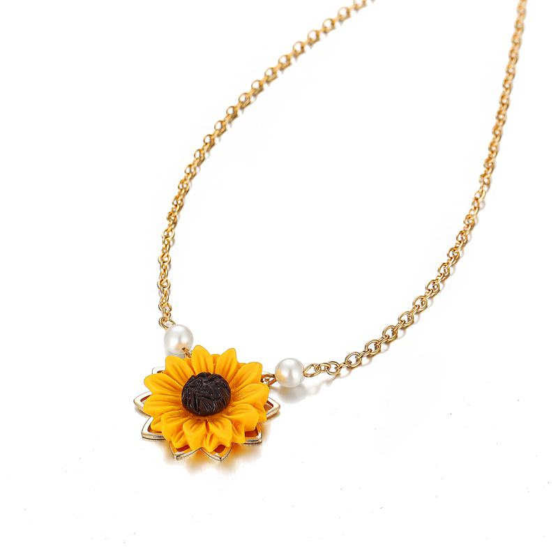 Perle-Sonnenblume-Halskette-Anhaenger-Weiblichen-Schmuck-Zubehoer-Sonnenblume-Z1U6 Indexbild 7