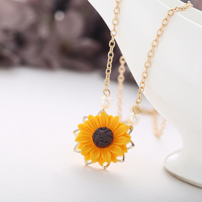 Perle-Sonnenblume-Halskette-Anhaenger-Weiblichen-Schmuck-Zubehoer-Sonnenblume-Z1U6 Indexbild 8
