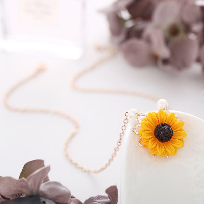 Perle-Sonnenblume-Halskette-Anhaenger-Weiblichen-Schmuck-Zubehoer-Sonnenblume-Z1U6 Indexbild 9