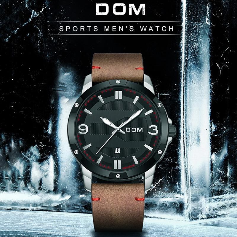 DOM-Montre-En-Cuir-Pour-Hommes-Montre-A-Quartz-de-Grand-Cadran-A-Calendrier-S6S2 miniature 8