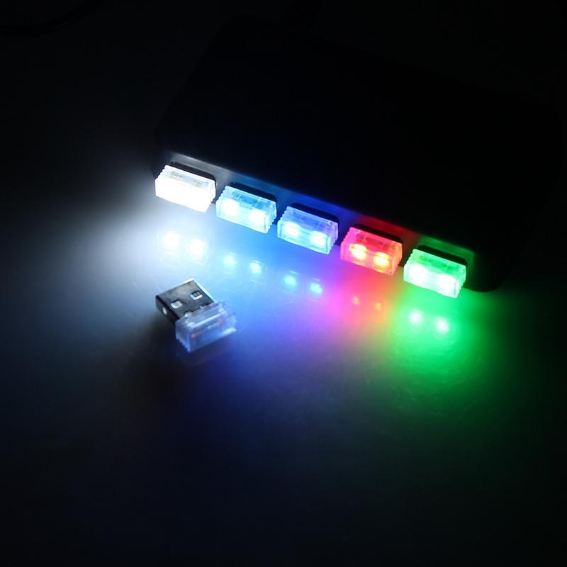Mini-Usb-Led-Luz-De-La-Noche-Lampara-De-La-Atmosfera-Luz-Del-Coche-P2K5 miniatura 11