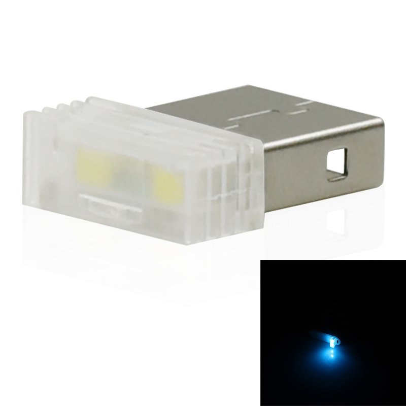 Mini-Usb-Led-Luz-De-La-Noche-Lampara-De-La-Atmosfera-Luz-Del-Coche-P2K5 miniatura 13