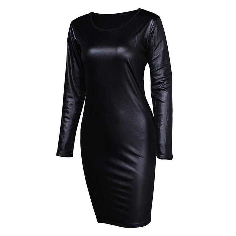 59c051df026e77 Détails sur Vêtements de Club Robe de Soirée Sexy Mini Robe en Cuir Des  Femmes, Robe de O7T3
