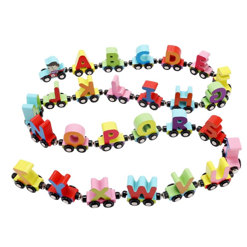 vendite dirette della fabbrica 3X (mwz 26 26 26 inglese Lettere Piccolo Treno in legno giocattoli per bambini 1-3 anni PU X8Q9  tempo libero