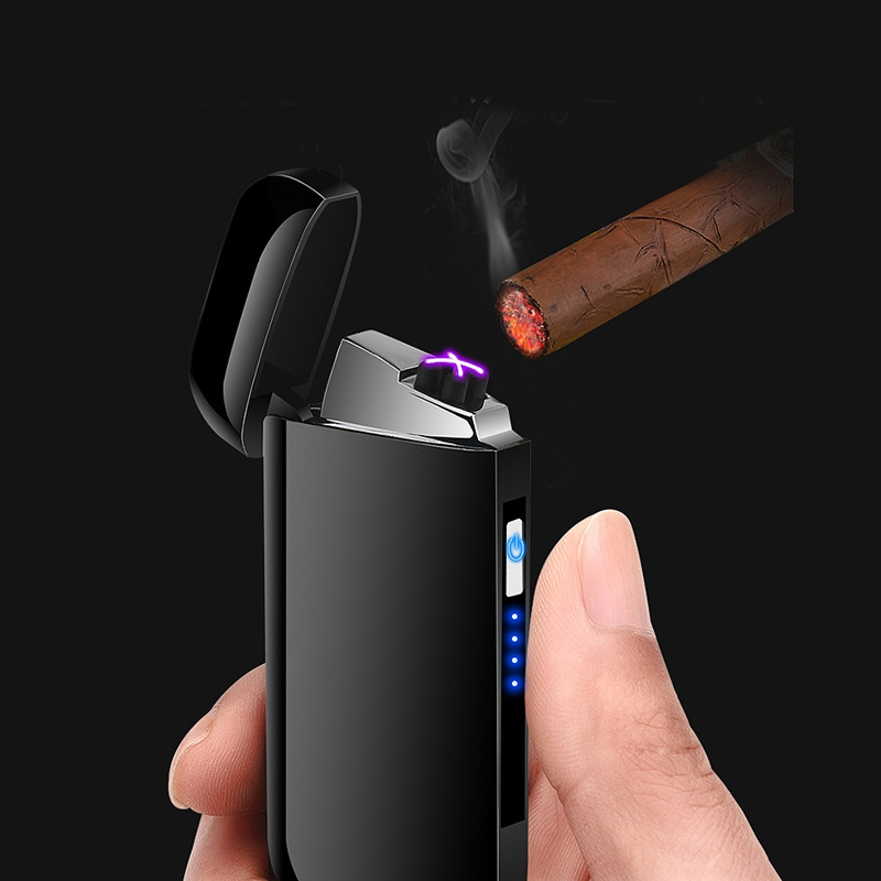 Metal-Windproof-Electronic-Usb-Charging-Cigarette-Lighter-Double-Arc-Plasma-Y1H2 thumbnail 5