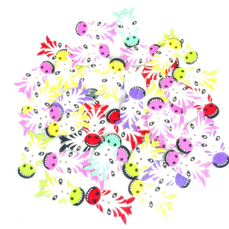 50pcs colori misti 2 fori forma di legno bottoni in legno per cucire