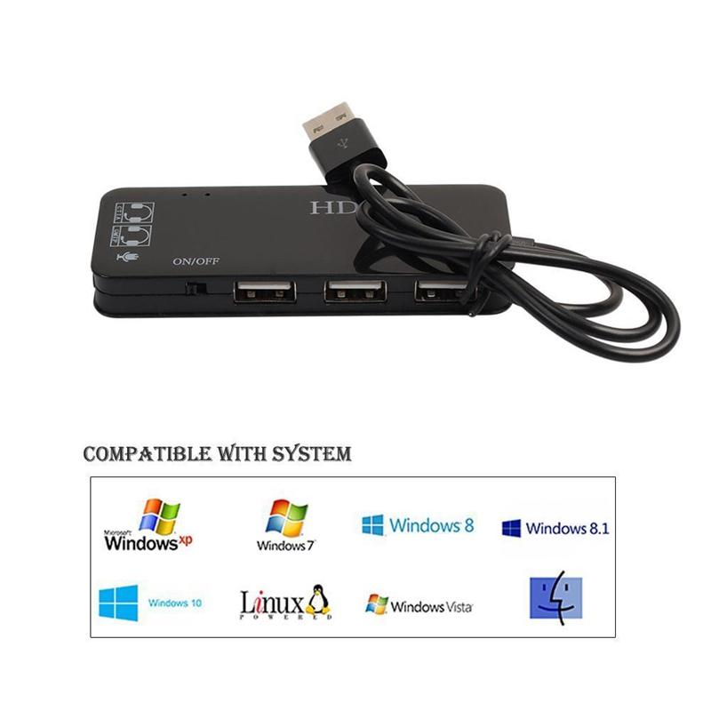 Indexbild 15 - 3-Anschluss-USB-2-0-Hub-Externer-7-1Ch-Sound-Karte-Headset-Mikrofon-Adapter-M9Q9
