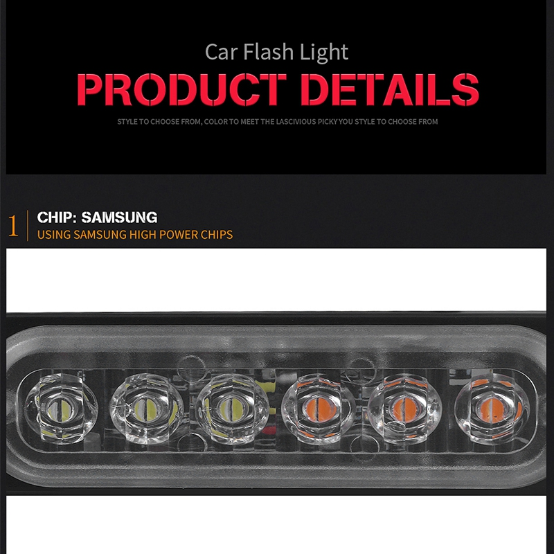 12V-24V-6LED-Light-Flash-Emergency-Car-Vehicle-Warning-Strobe-Flashing-W1A7 Indexbild 10