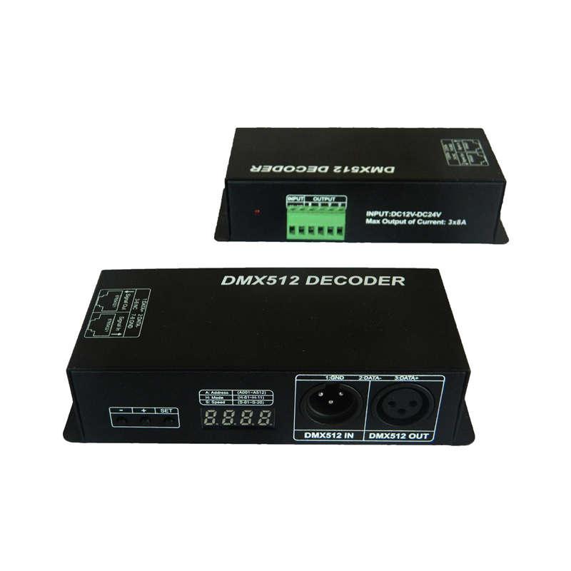 DMX 512 4CH 8A Decoder LED Controller 4 Channel Driver RGBW LED DC 12V-24V Y0C1