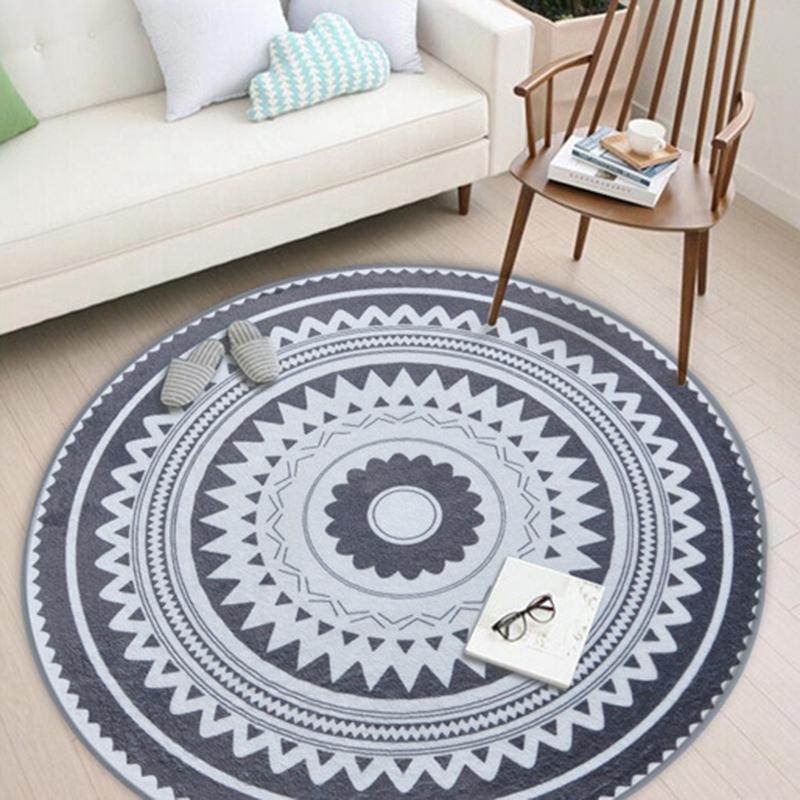 Details zu Nordic Grau Serie Runder Teppich Wohnzimmer Computer Stuhl  Bereich Teppich H2K3