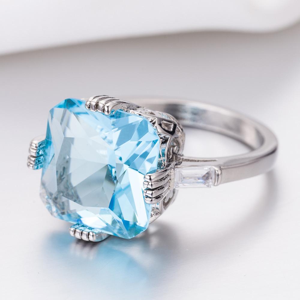 1X-Anillo-Nupcial-De-Compromiso-Con-Anillo-De-Diamante-De-Topacio-Azul-Con-A2O9 miniatura 6