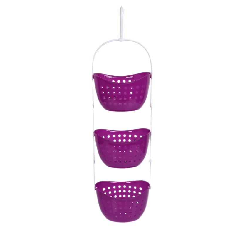 3 Tier Plastic Basket Shower Caddy Hanging Rack Tidy Shelf Organiser Storag U7E5