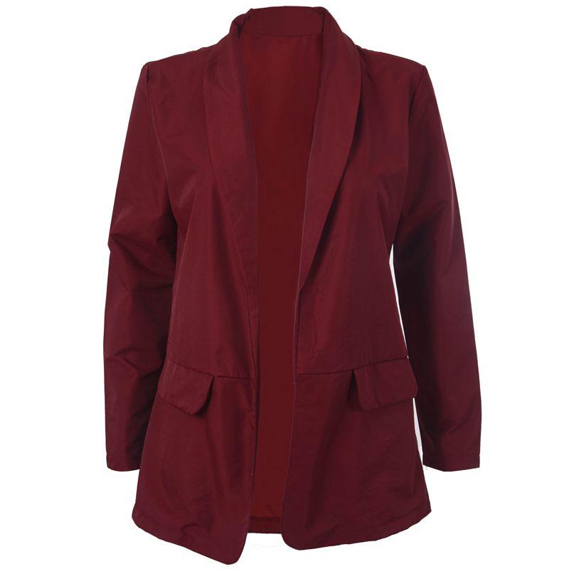 Femmes-Mode-Revers-Manches-Longues-Blazer-Manteaux-Vestes-Dames-Decontracte-L9P9 miniature 2