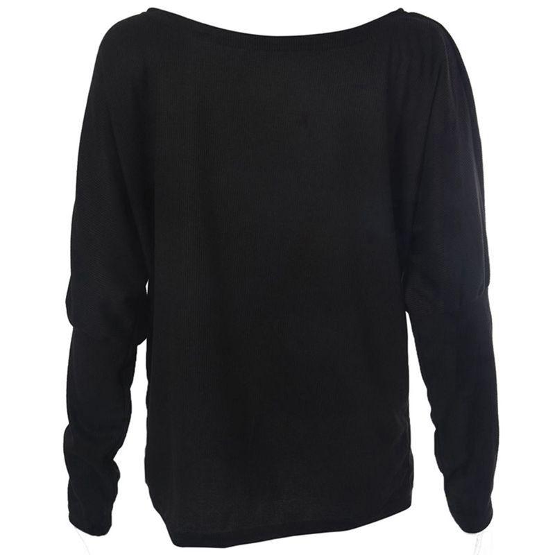 T-Shirt-Chandail-Cotele-En-Tricot-A-Longues-Manches-Une-Epaule-Sexy-Pour-Fe-E6P1 miniature 3
