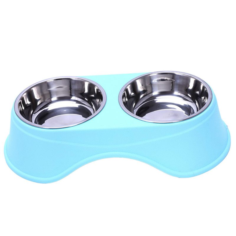 8X(Stainless Steel Double Pet Bowls for Dog Puppy Cats Food Water Feeder Pe H9Z7