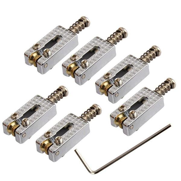 6 roller bridge tremolo saddles with wrench for fender strat tele electric g 4k3 ebay. Black Bedroom Furniture Sets. Home Design Ideas