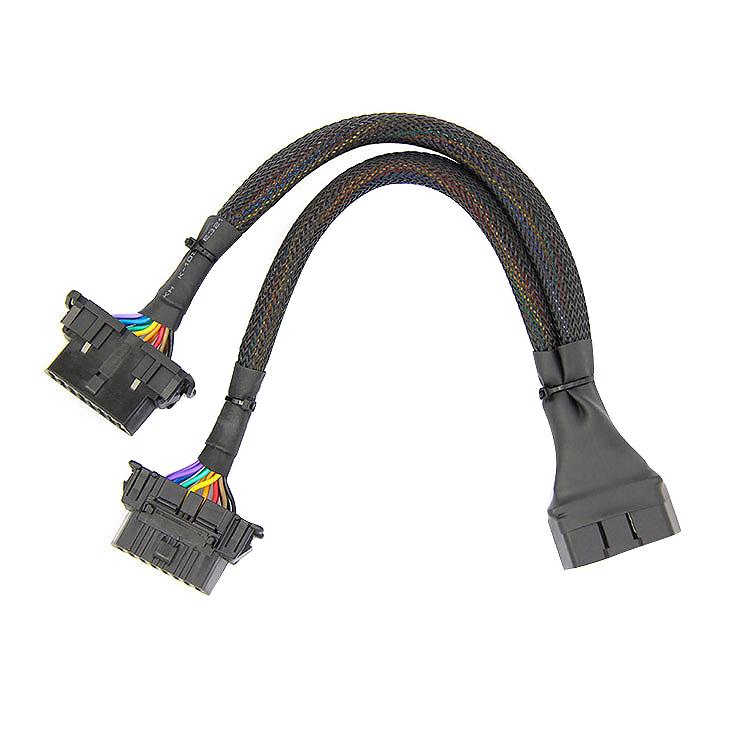 1 En 2 Câble Converti Câble D'extension Plat Obd2 Avec 16 Broches Connectée W7h3 CoûT ModéRé