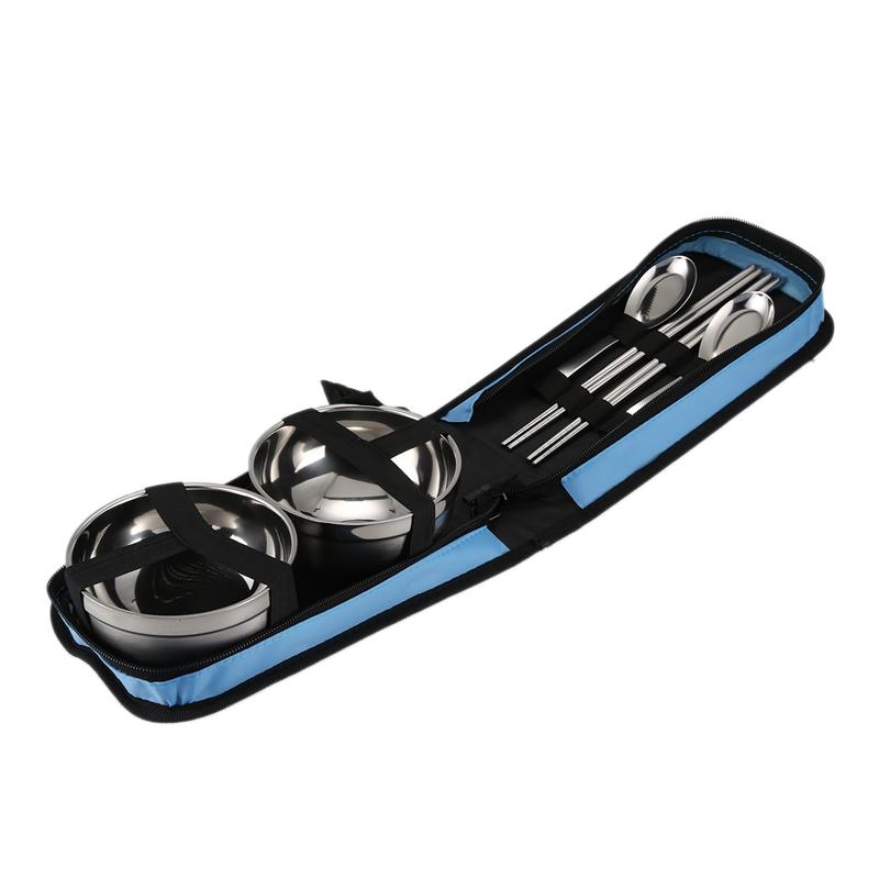 3X-Edelstahl-Portable-Geschirr-Camping-Geschirr-Reisegeschirr-Outdoor-Gesch-K8E8 Indexbild 5