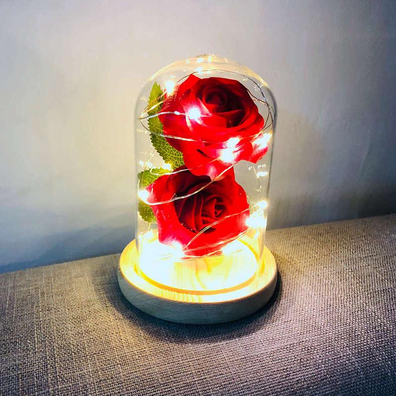 2X-Led-Rose-Battery-Powered-Flower-String-Light-Desk-Lamp-Romantic-Valentin-C4C5 thumbnail 4