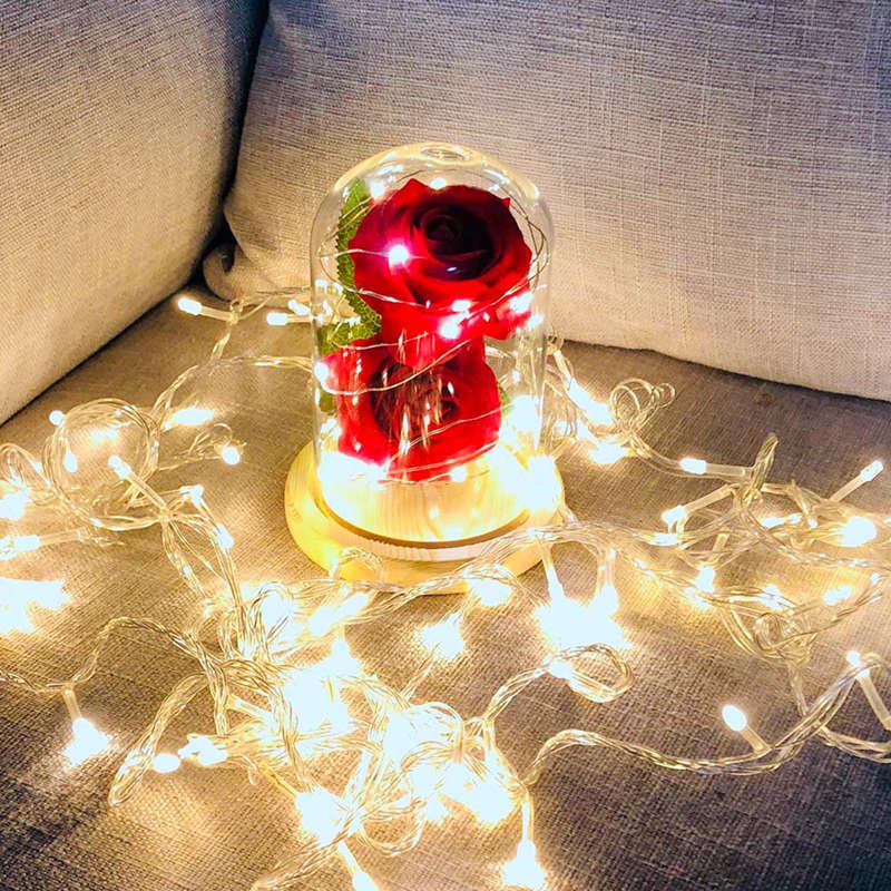 2X-Led-Rose-Battery-Powered-Flower-String-Light-Desk-Lamp-Romantic-Valentin-C4C5 thumbnail 6