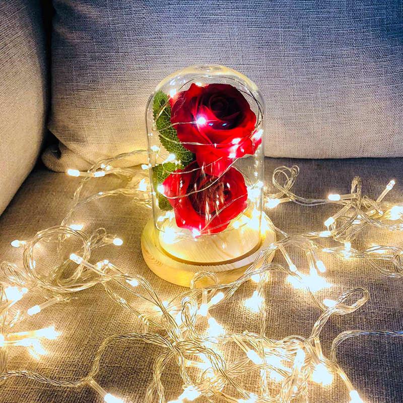 2X-Led-Rose-Battery-Powered-Flower-String-Light-Desk-Lamp-Romantic-Valentin-C4C5 thumbnail 7