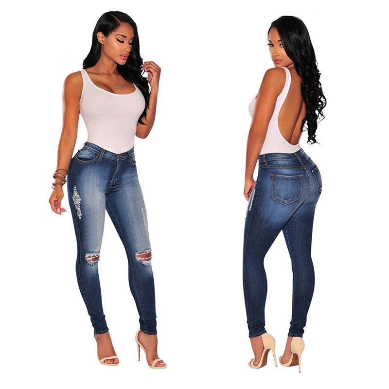 sports shoes 855b0 52510 Moda Donna Strappato I Buchi Jeans Strappati Distrutti Jeans ...