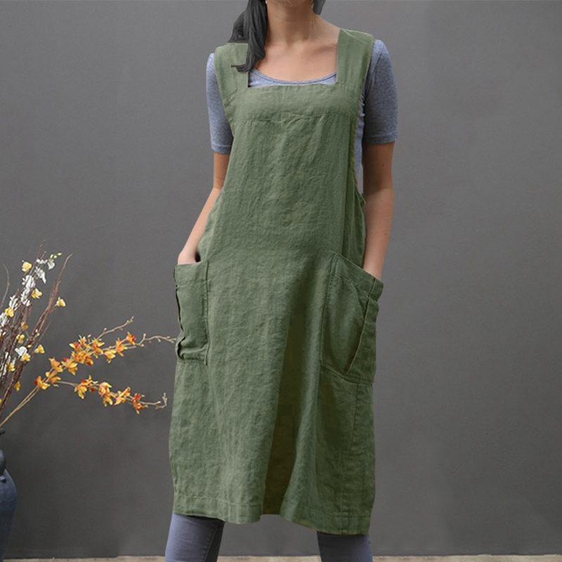 Traje-Vintage-Vestido-Para-Mujeres-Bolsillo-Delantal-Correa-Cruzada-Vestido-Z9O5 miniatura 11