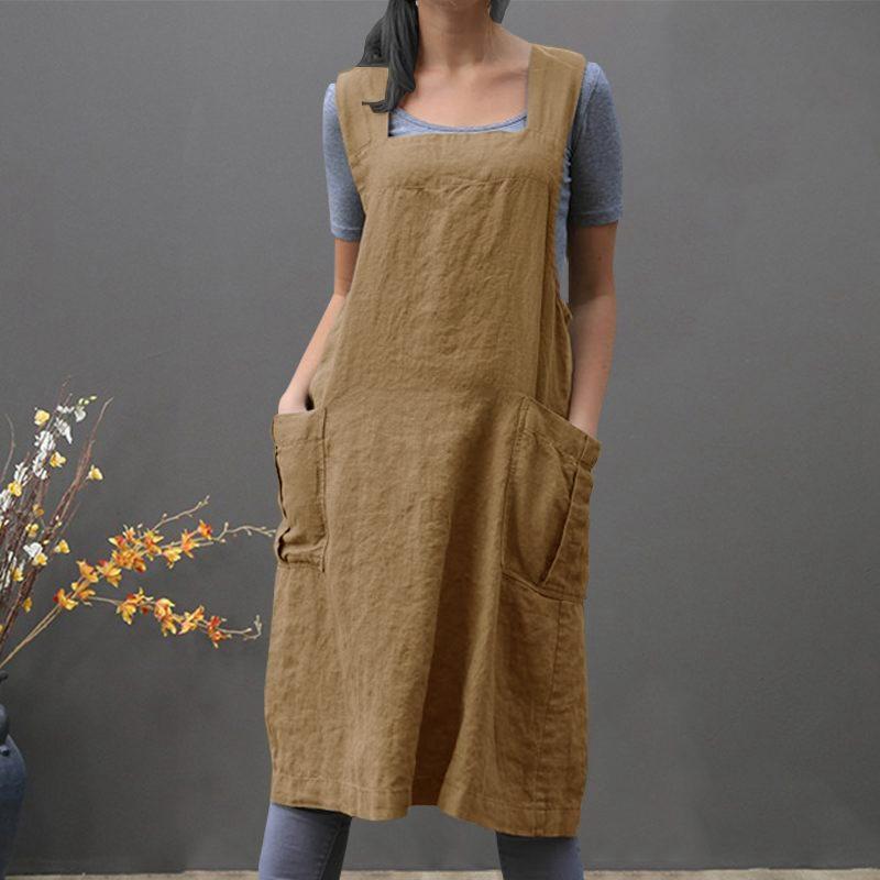 Traje-Vintage-Vestido-Para-Mujeres-Bolsillo-Delantal-Correa-Cruzada-Vestido-Z9O5 miniatura 16