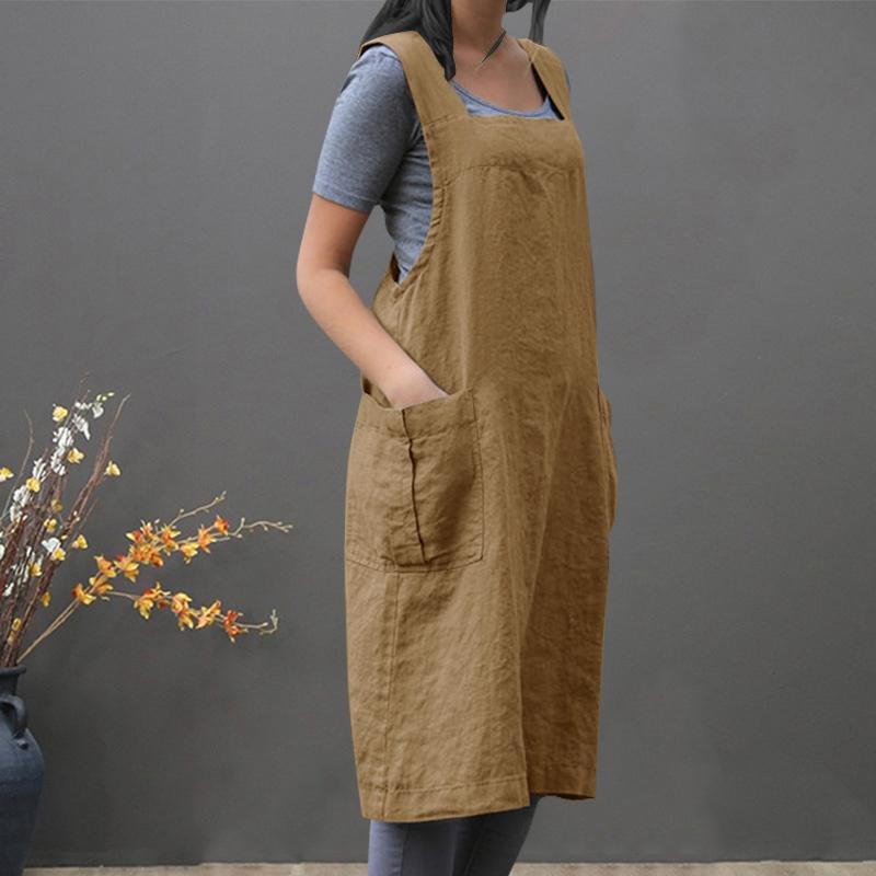 Traje-Vintage-Vestido-Para-Mujeres-Bolsillo-Delantal-Correa-Cruzada-Vestido-Z9O5 miniatura 18