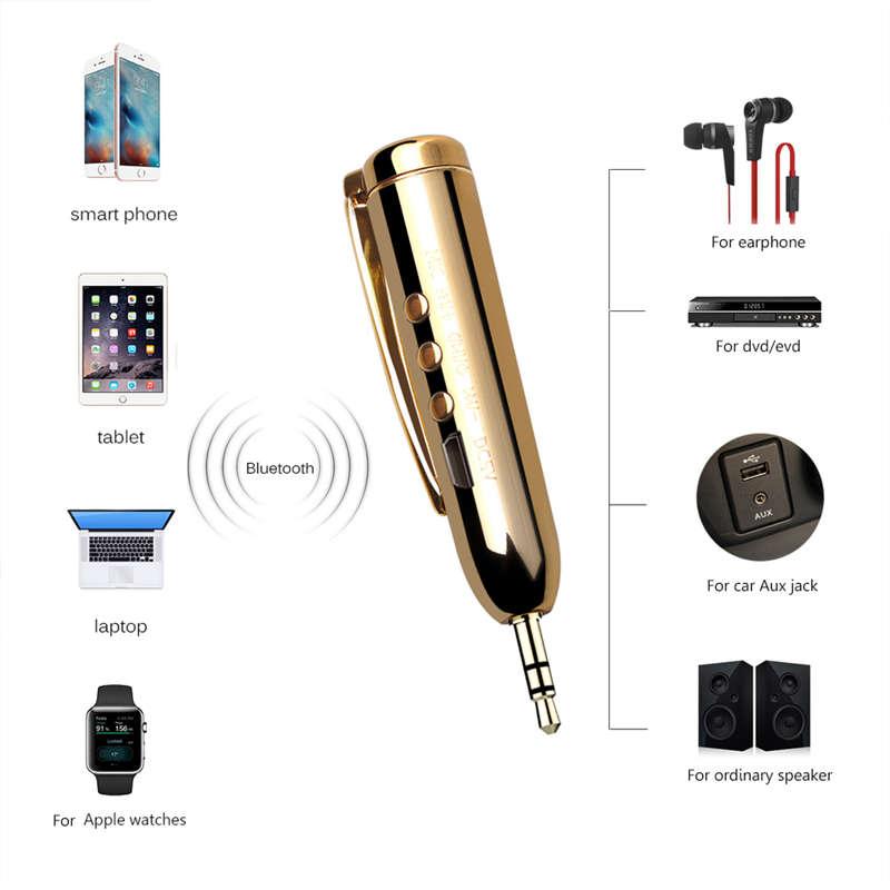 Jack-Receiver-Adapter-Double-Output-Bluetooth-Handsfree-Car-Kit-Aux-Bluetoo-Q4F1 miniatuur 4