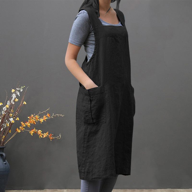 Traje-Vintage-Vestido-Para-Mujeres-Bolsillo-Delantal-Correa-Cruzada-Vestido-Z9O5 miniatura 3