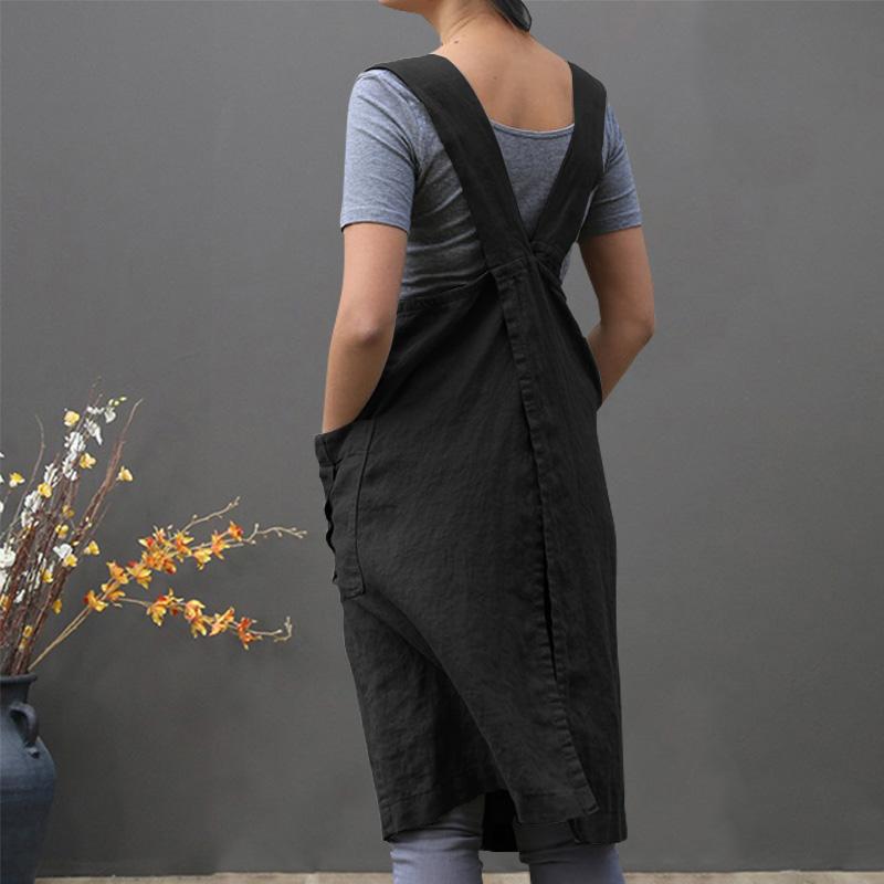 Traje-Vintage-Vestido-Para-Mujeres-Bolsillo-Delantal-Correa-Cruzada-Vestido-Z9O5 miniatura 4