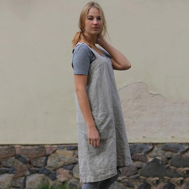 Traje-Vintage-Vestido-Para-Mujeres-Bolsillo-Delantal-Correa-Cruzada-Vestido-Z9O5 miniatura 7