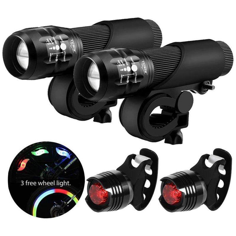 10X (conjunto de Luz de Bicicleta LED Luz de Bicicleta con función Zoomable 3 modos 3 AA T8S1