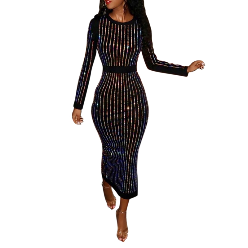 16f9ef682ef14 Details about Women'S Long Sleeve Elasticity Bodycon Dress Stripes Binding  Sequin Party E C2R4