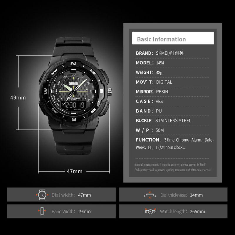 SKMEI-Men-039-s-Sports-Watch-Led-Digital-50M-Waterproof-Casual-Dual-Time-Displa-I1J9 thumbnail 4