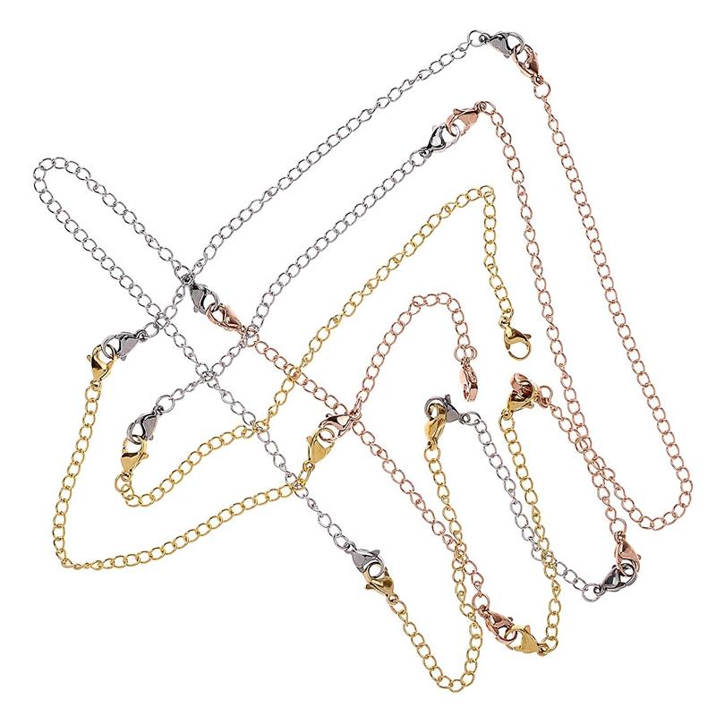 12-Pcs-Stainless-Steel-Necklace-Extender-Bracelet-Extender-Extender-Chain-S-Z9D3 thumbnail 4