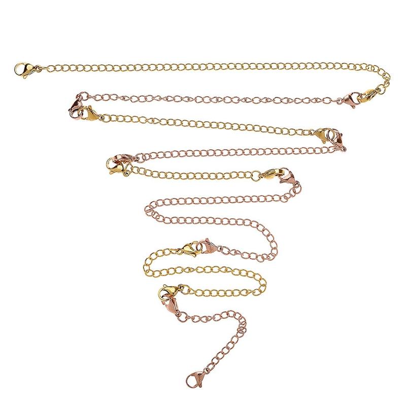12-Pcs-Stainless-Steel-Necklace-Extender-Bracelet-Extender-Extender-Chain-S-Z9D3 thumbnail 5