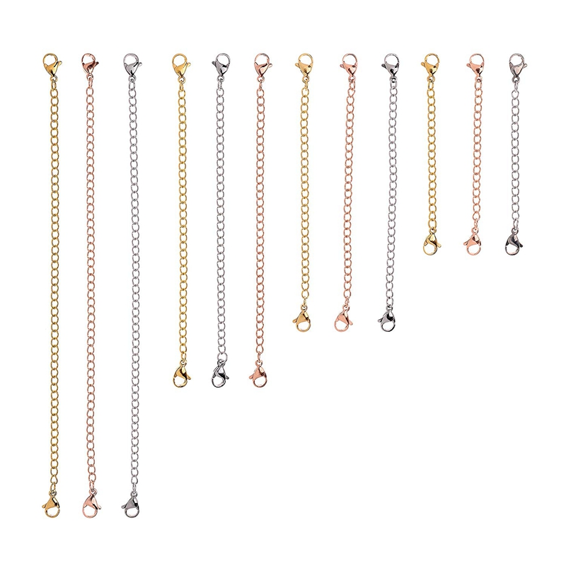 12-Pcs-Stainless-Steel-Necklace-Extender-Bracelet-Extender-Extender-Chain-S-Z9D3 thumbnail 9