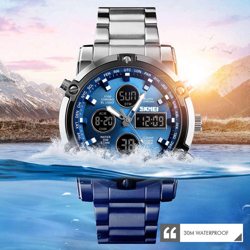 1X-Skmei-Herren-Quarz-Uhr-Luxus-Mode-Sport-Uhr-Wasserdichte-Edelstahl-Armba-I3H6 Indexbild 3