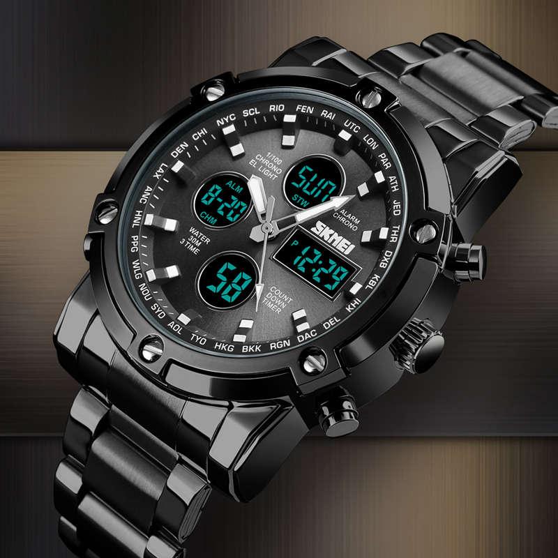 1X-Skmei-Herren-Quarz-Uhr-Luxus-Mode-Sport-Uhr-Wasserdichte-Edelstahl-Armba-I3H6 Indexbild 5