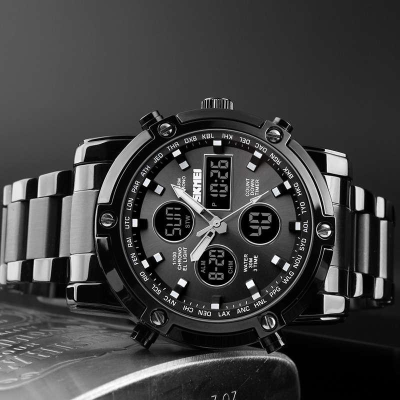 1X-Skmei-Herren-Quarz-Uhr-Luxus-Mode-Sport-Uhr-Wasserdichte-Edelstahl-Armba-I3H6 Indexbild 6