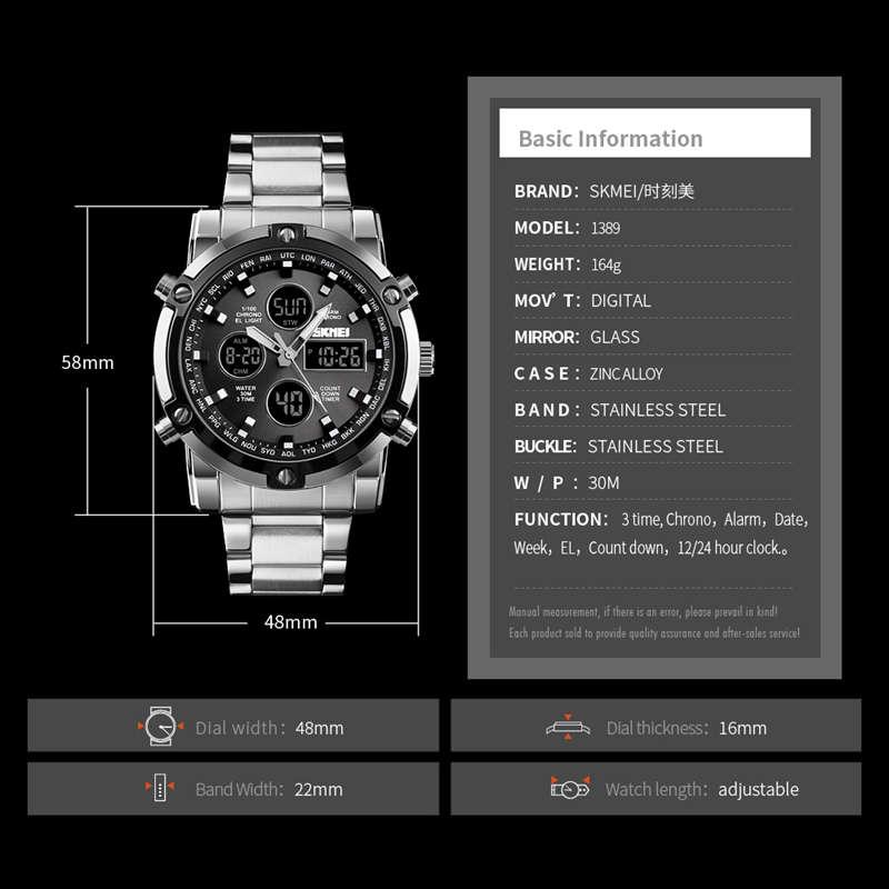 1X-Skmei-Herren-Quarz-Uhr-Luxus-Mode-Sport-Uhr-Wasserdichte-Edelstahl-Armba-I3H6 Indexbild 7