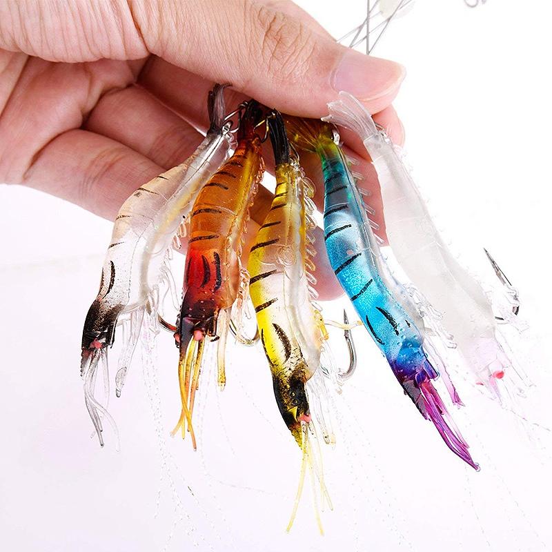 Leurres-En-Plastique-Souple-Appats-Artificiels-Crevette-Lumineuse-Leurre-De-2P9 miniature 3